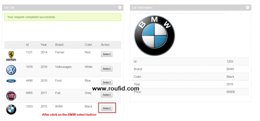 Liferay inter portlet communication using event after selecting BMW