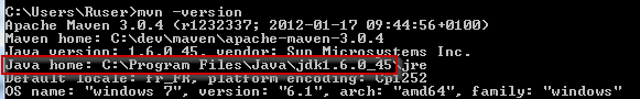 Output of mvn -version